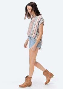 Lovestitch Yarn Dyed Stripe Short Sleeve Top