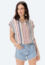 Load image into Gallery viewer, Lovestitch Yarn Dyed Stripe Short Sleeve Top