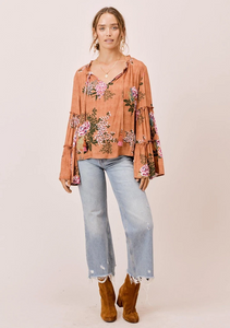 Lovestitch Bell Sleeve Top with Tie Neck