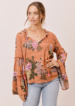 Load image into Gallery viewer, Lovestitch Bell Sleeve Top with Tie Neck