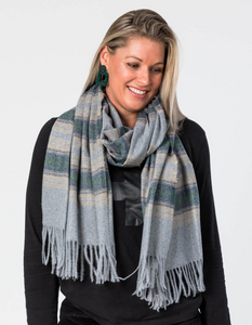Stella + Gemma Grey Winter Stripe Scarf