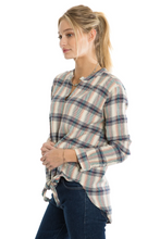 Load image into Gallery viewer, Dylan Wyatt Plaid Tie-Front Blouse