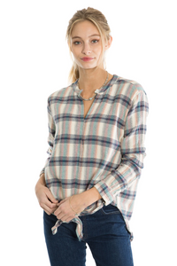 Dylan Wyatt Plaid Tie-Front Blouse