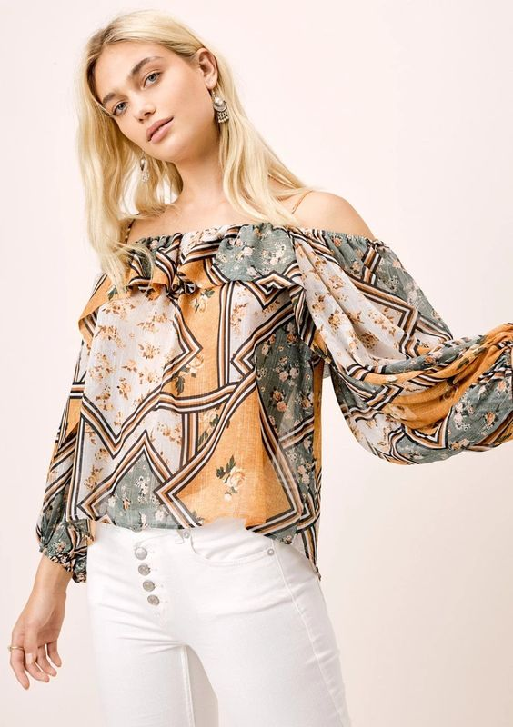 Lovestitch Cold Shoulder Top with Volume Sleeve
