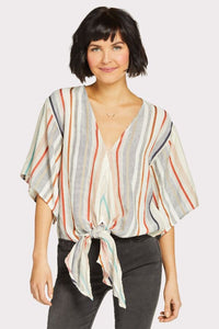 Lovestitch Yarn Dyed Stripe Tie Front Top