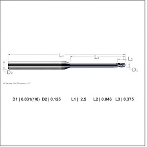 Harvey Tool 1/32nd Ball Long Reach, Stub Flute