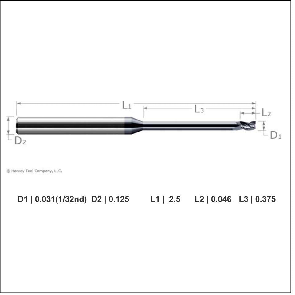Harvey Tool 1/32nd Inch Carbide Square Long Reach, Stub Flute