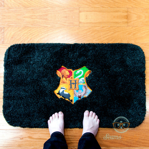 Harry Potter Bath Mat or Rug - Hogwarts House Crest - Embroidered Bathroom Decor