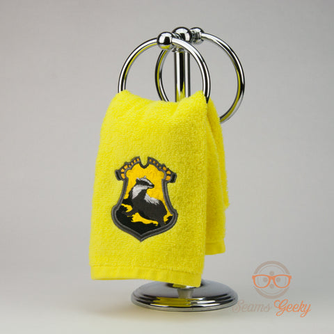 Harry Potter Hand Towel - Hufflepuff House Crest - Embroidered Bathroom Towel