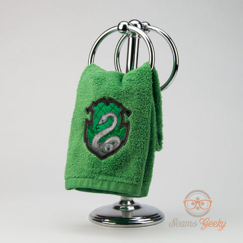 Harry Potter Hand Towel - Slytherin House Crest - Embroidered Bathroom Towel