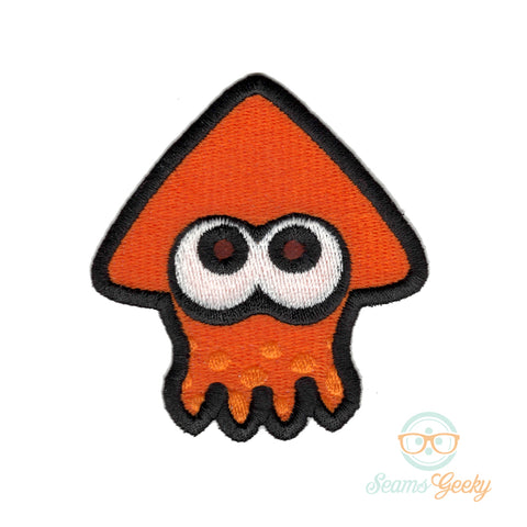 Splatoon Patch - Orange Inkling - Embroidered Iron on Patch
