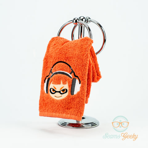 Splatoon Hand Towel -  Inkling Girl - Embroidered Video Game Bathroom Towel & Kitchen Decor