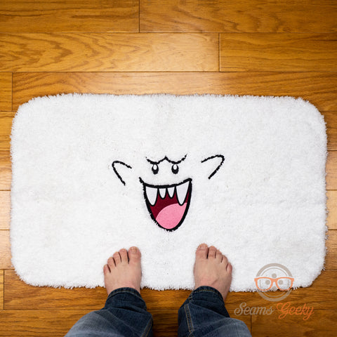 Super Mario Bath Mat or Rug - Boo Ghost - Geeky Embroidered Halloween Mat
