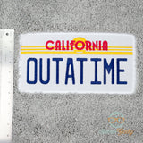 Back to the Future Bath Mat or Rug - OUTATIME Delorean License Plate - Embroidered Mat