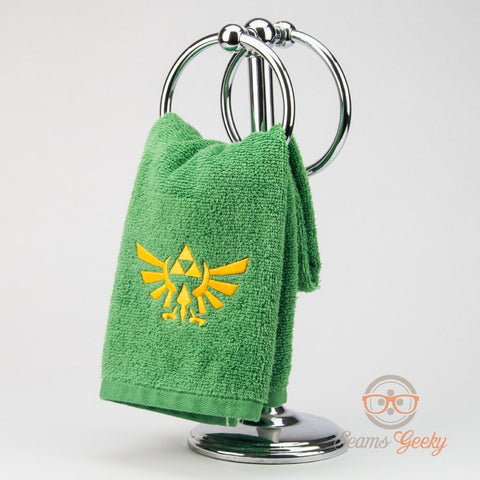 Legend of Zelda Hand Towel - Triforce - Embroidered Geeky Bathroom Towel or Kitchen Decor