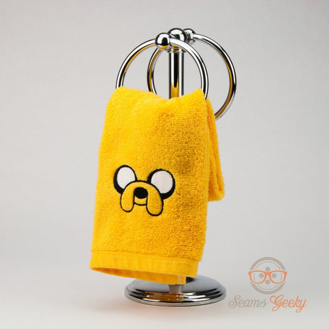 Adventure Time Hand Towel - Jake - Embroidered Geeky Bathroom Towel or Kitchen Decor