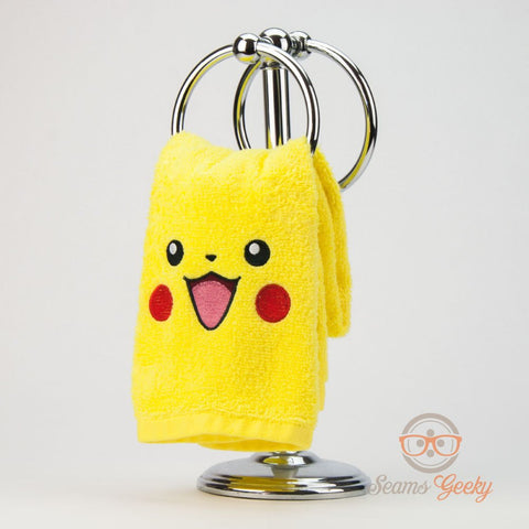 Pokemon Hand Towel - Pikachu - Embroidered Anime Bathroom Towel or Kitchen Decor