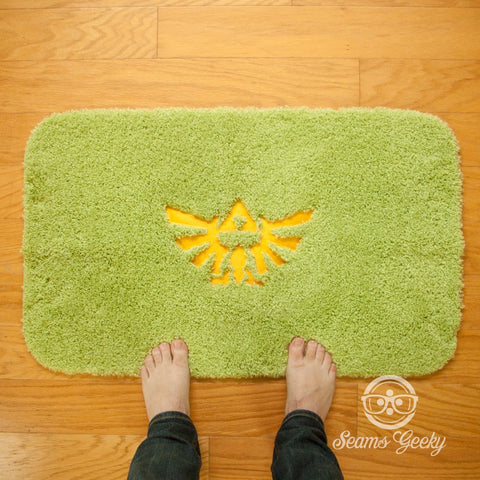 Legend of Zelda Bath Mat or Rug - Triforce - Embroidered Geeky Bathroom or Video Game Decor