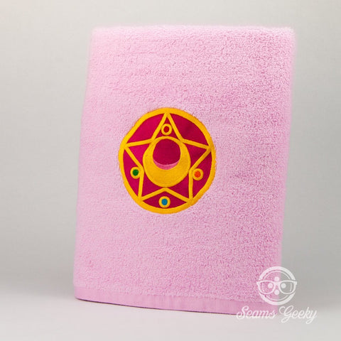 Sailor Moon Bath Towel - Star Compact - Embroidered Geeky Bathroom Towel or Kitchen Decor