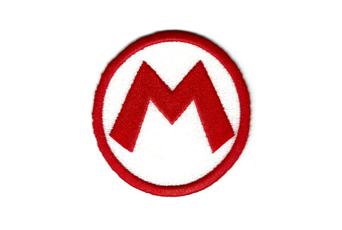 Super Mario Patch - Mario Hat M - Embroidered Video Game Iron on Patch