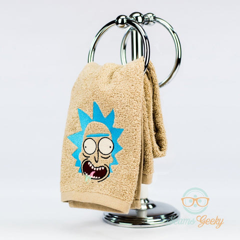 Rick and Morty Hand Towel - Rick - Embroidered Geeky Bathroom Towel or Kitchen Decor