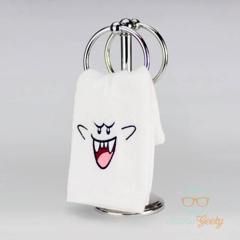 Super Mario Hand Towel - Boo Ghost - Geeky Embroidered Halloween Bathroom Towel or Kitchen Decor