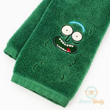 Rick and Morty Hand Towel - Pickle Rick - Embroidered Geeky Bathroom Towel or Kitchen Decor