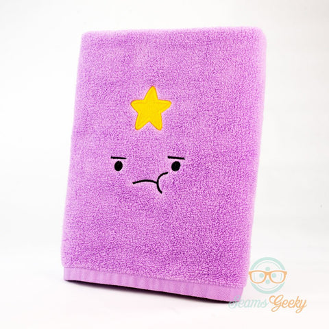 Adventure Time Bath Towel - Lumpy Space Princess (LSP) - Embroidered Geeky Bathroom Towel Decor