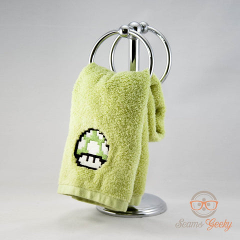 Super Mario Hand Towel - Green One-up Mushroom - Geeky Embroidered Bath Towel or Kitchen Decor