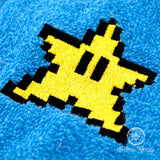 Super Mario Hand Towel - 8 Bit Star - Geeky Embroidered Bathroom Towel or Kitchen Decor
