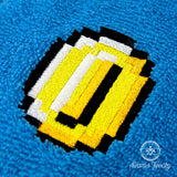Super Mario Hand Towel - 8 Bit Pixel Coin - Embroidered Bathroom Towel or Kitchen Decor