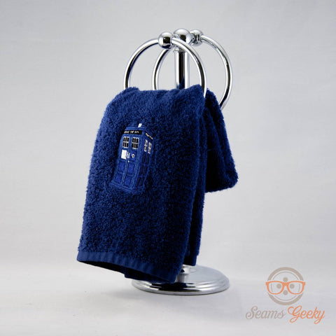 Doctor Who Hand Towel - TARDIS - Embroidered Geeky Bathroom Towel or Kitchen Decor