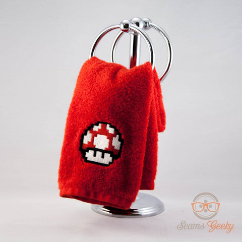 Super Mario Hand Towel - Red Mushroom - Geeky Embroidered Bathroom Towel or Kitchen Decor