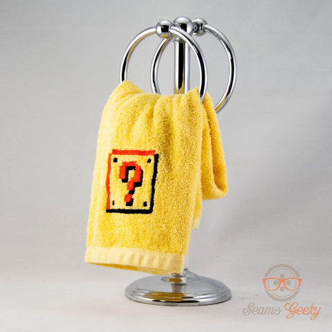 Super Mario Hand Towel - 8 Bit Question Block - Embroidered Towel