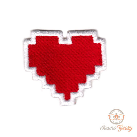 Legend of Zelda Patch - HP Health Bar Container - Full Heart - Embroidered Video Game Iron-on Patch