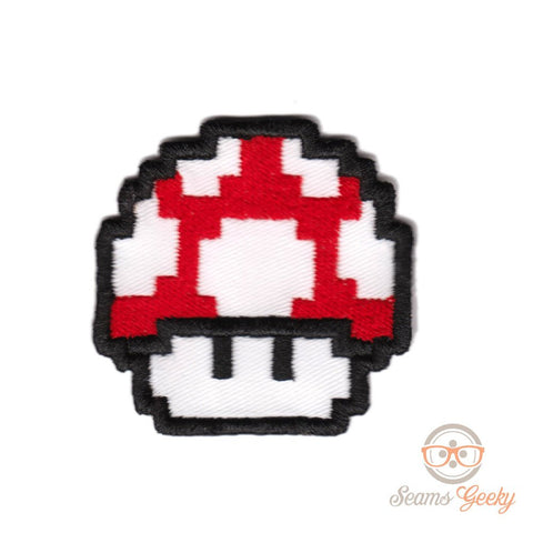 Super Mario Patch - Red Mushroom - Embroidered Video Game Iron-on Patch