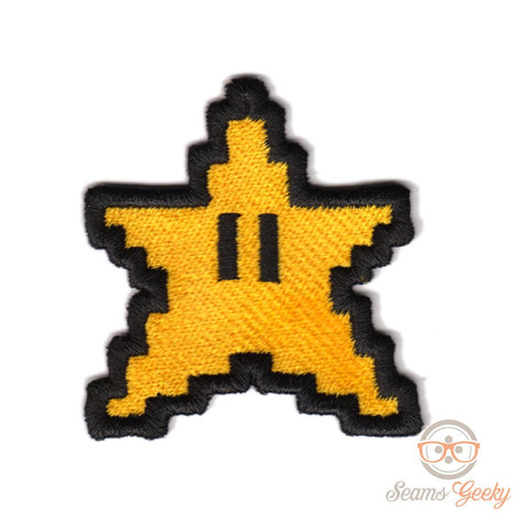 Super Mario Patch - 8 Bit Pixel Star - Embroidered Geeky Video Game Iron on Patch Applique