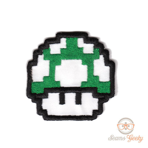 Super Mario Patch - Green Mushroom - Embroidered Video Game Iron on Patch