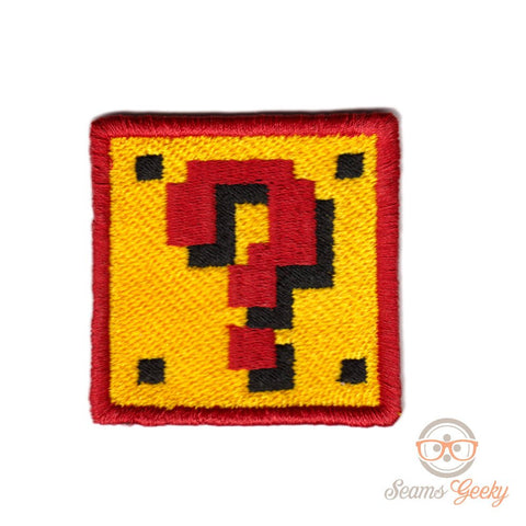 Super Mario Patch - Question Block - Embroidered Video Game Iron-on Patch or Applique