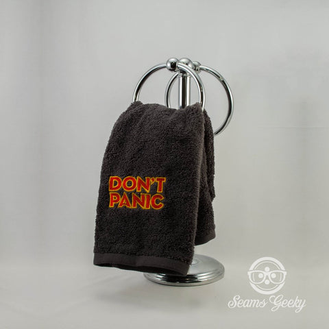 Don't Panic Hand Towel - The Hitchhiker's Guide to the Galaxy  -  Embroidered Towel