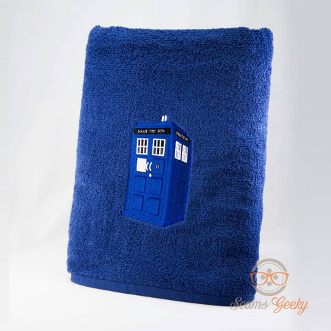 Doctor Who Bath Towel - TARDIS - Embroidered Sci-Fi Bathroom Decor