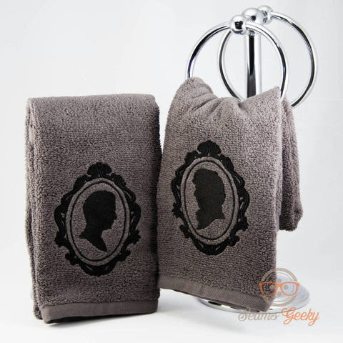 Sherlock Hand Towel Set - His and His - Sherlock and Watson - Embroidered Geeky Bathroom Towel Decor