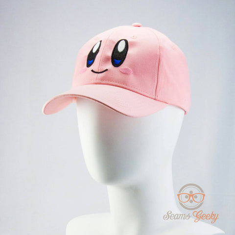 Kirby Hat - Geeky Embroidered Video Game Baseball Cap (Adjustable or Flexfit)