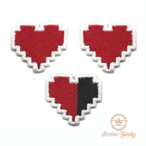 "Legend of Zelda ""Mini"" Patch Set - HP Health Bar Heart Container - Iron on Patch"