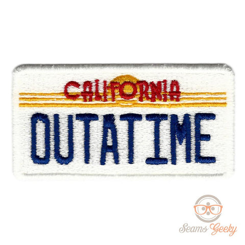 Back to the Future Patch - OUTATIME License Plate - Embroidered Movie Iron on Patch or Applique