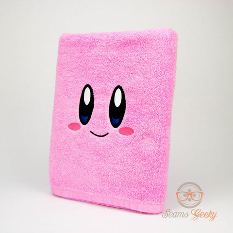 Kirby Bath Towel - Geeky Embroidered Video Game Bathroom Towel and Decor