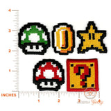 Super Mario Patch Set - Geeky Embroidered Video Game Iron on Patches (Set of 5)