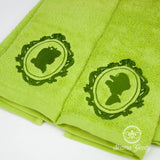Super Mario Hand Towel Set - His and Her - Luigi and Daisy - Embroidered Video Game Bathroom Decor