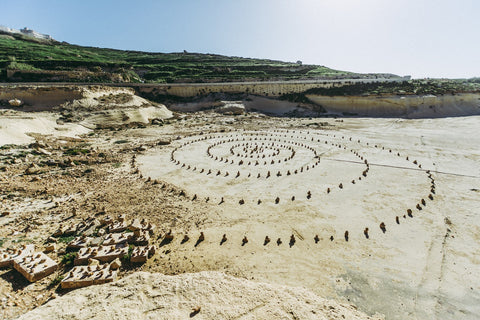 rock stacking circle mandala