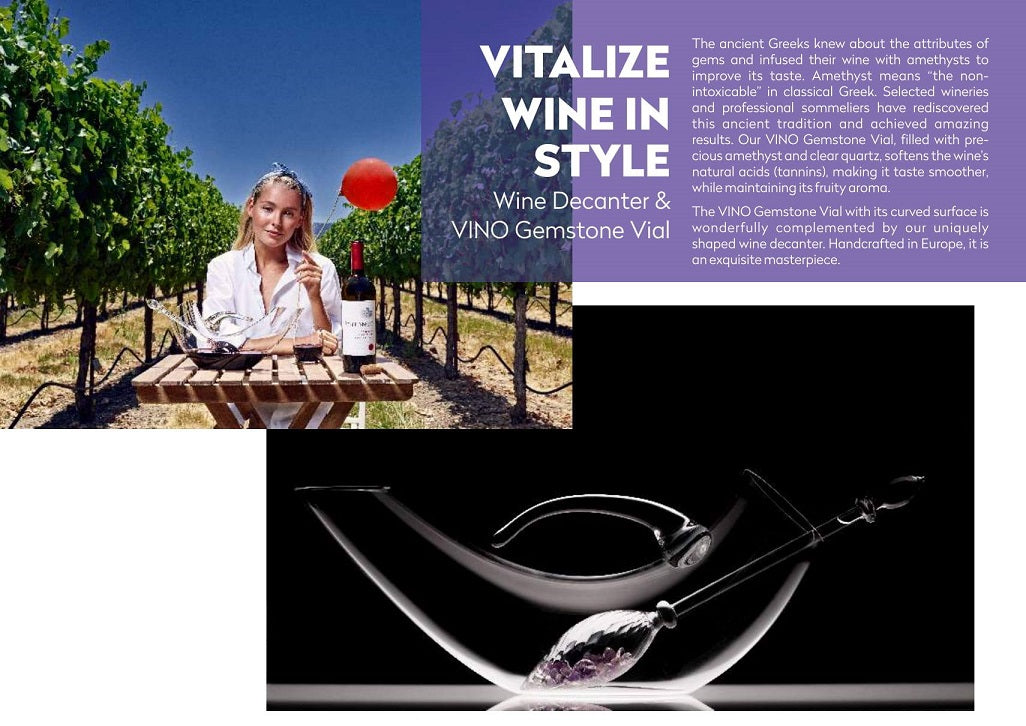VitaJuwel Wine Decanter and Amethyst VINO Gemstone Vial Wand Gemwine Infuser Enhancer - claritycove.com